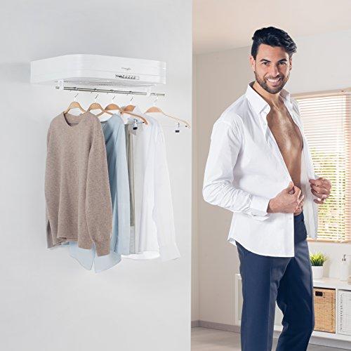 SCIUGARELLA ST – Elektro-Luft-Wäschetrockner – Auf einer knappen 60 cm-Bügelfläche trocknet und bügelt Sciugarella bis 7 Kg Wäsche – Schluss mit Platz raubendem Wäscheständ