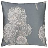 Lazis | Grisel Kissen 45x45 cm Blumenkissen Kissenbezug Kissenhülle | Grau Weiß Silber | mit Blumenmuster | ohne Füllung | Zierkissen Sofakissen Dekokissen | Kissen Gemustert