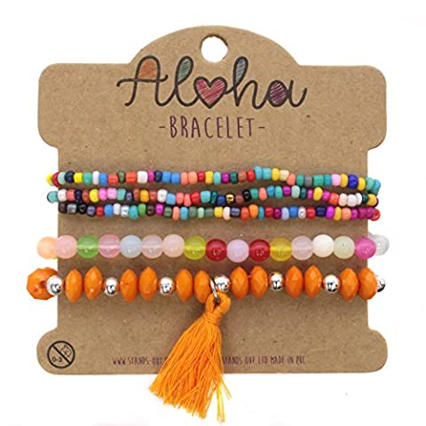 Five Pack Multicoloured Micro Beads Clear Pastel, Orange Crystal Chrome Ball Style and Tassle Multipack Ladies Bracelet Perfect for Beach Summer Festival Season