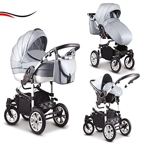16 teiliges Qualitäts-Kinderwagenset-Reisesystem 3 in 1 COSMO in 41 Farben: Kinderwagen + Buggy + Autokindersitz + Schwenkräder - Mega-Ausstattung - all inclusive Paket in Farbe (C-30) HELLGRAU-WEISS