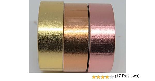 Lot de 3/rouleaux de ruban de type Washi tape couleurs cuivre//or//or ros/é