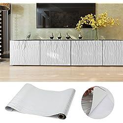 Kinlo® 0.61 x 5 M Elegante Pegatina de Mueble Cocina Bricolaje La Protección de Armarios PVC Auto Rollos de Papel Lámina Autoadhesiva para La Cocina Muebles / Vidrio / Electrodomésticos (Onda de Gris)