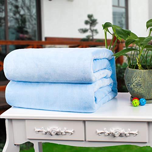 Wgreat coperta in pile leggero ultra-morbido,accogliente calda addensare blu chiaro coperta vellutata in pile microfibra tutte le stagioni-azzurro 100x180cm(39x71inch)
