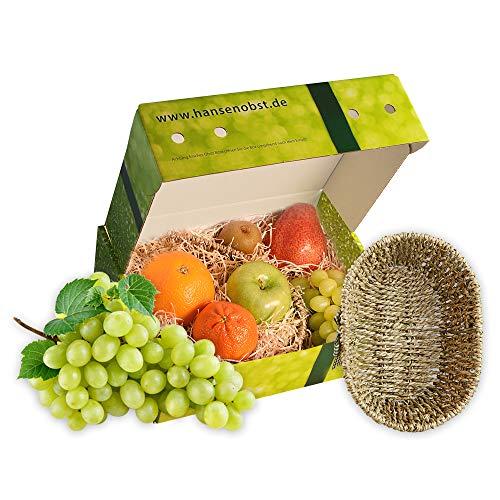 Obstkorb Schleife oval mit frischem Obst in klassischer Geschenkbox Geschenkkorb Präsentkorb Früchtebox Obstbox
