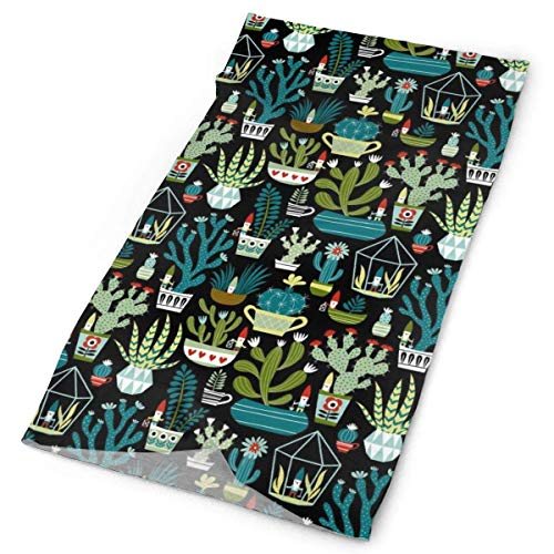 , Neck Gaiter, Headband, Bandana, Balaclava, Gnomes Succulents Cactus Terrarium Head Wrap Scarf ()