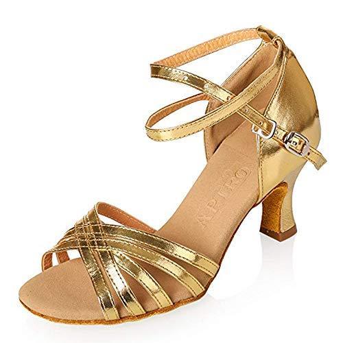 APTRO Damen Ballsaal Latin Tanzen Golden Sandalen 37.5(Asia 38) (Goldene Sandale Die)