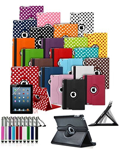 Für Amazon Kindle Fire HD 17,8 cm Zoll (4. Generation 2014) - Custom Made Tablet Schutzhülle mit 360 ° Drehbar und Ständer Funktion & Retractable Mini Stylus pen in rot mit weiß Polkadots * * AUSVERKAUF alle Lager Must Go * * (2014 4th Generation-kindle-fall)