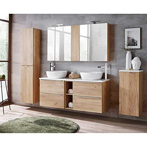 Lomadox Komplett Badmöbel Set mit Doppel-Waschtisch inkl. 2 Keramik-Aufsatzbecken 50cm, Wotaneiche & Hochglanz weiß, inkl. LED-Spiegelschrank - Holz-badezimmer Doppel-waschtisch