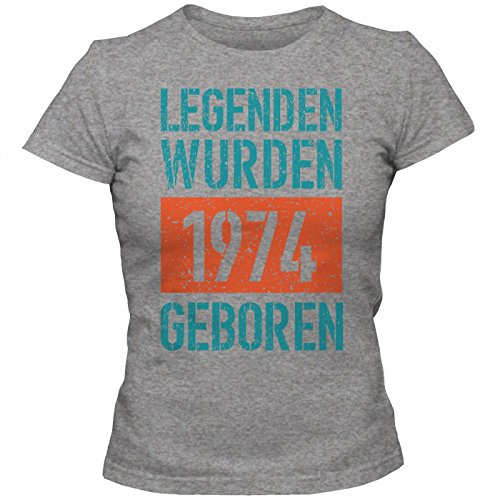 Legenden 1974 #1 T-Shirt | Jahrgang 74 | Geschenkidee | 43. Geburtstag | Frauen | Shirt © Shirt Happenz Graumeliert (Grey Melange L191)