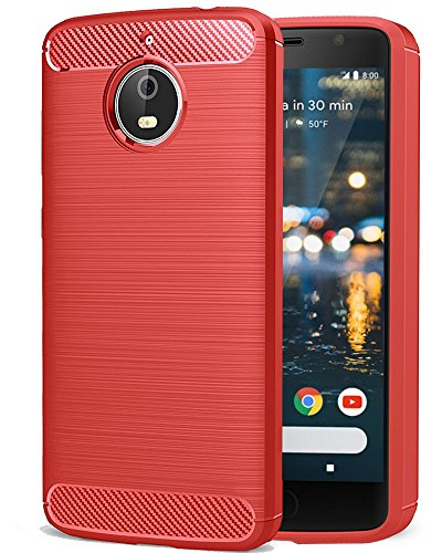 Moto G5S Hülle, Ferlinso Leicht Flexible Rugged Armor Hybrid Defender Shockproof Schutzhülle Carbon Fiber Design Cover mit [Schutzfolie] für Moto G5S (Rot)