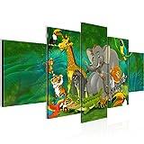 Bilder Kinder Afrika Tiere Wandbild 200 x 100 cm Vlies - Leinwand Bild XXL Format Wandbilder Wohnzimmer Wohnung Deko Kunstdrucke Grün 5 Teilig - MADE IN GERMANY - Fertig zum Aufhängen 001851a