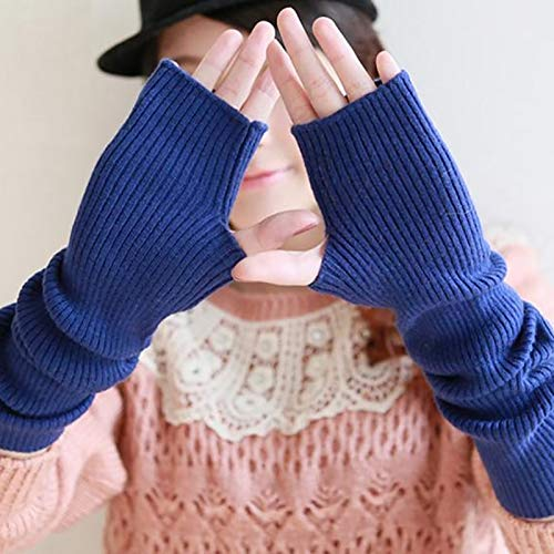 lilijasmi Winter Women's Wool Mitts 40cm 50cm 60cm Fine Wool Fingerless Gloves Long 2019 Thermal Gloves Semi Finger Lengthen Arm Warmers