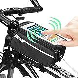 ProHomer Fahrradtasche Rahmentasche Wasserdicht, Oberrohrtasche Fahrrad Handy Tasche Vorne Sensitive Touch-Screen Wasserdicht Groß (Passend bis zu 6,0 Zoll) (Schwarz)