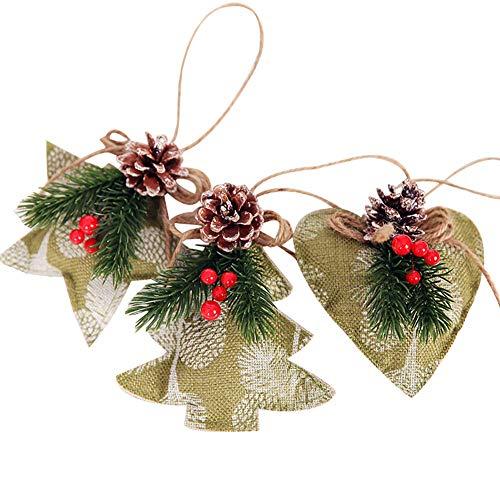 XINSU Agrifoglio e pigna Artificiale di Colore Luminoso Decorazione Natalizia 3pcs Agrifoglio di Natale Artificiale Cono Stella Cuore Ornamento dell'albero (Color : Green)