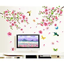 UberLyfe Flowers and Birds Wall Stickers Size 4 (Wall Covering Area: 120cm x 110cm) - WS-447
