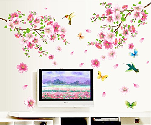 UberLyfe Flowers and Birds Wall Stickers Size 4 (Wall Covering Area: 120cm...