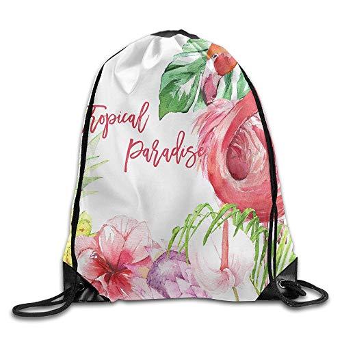 Tropical Paradise Print Drawstring Backpack Rucksack Shoulder Bags Sport Gym Bag for Men and Women -