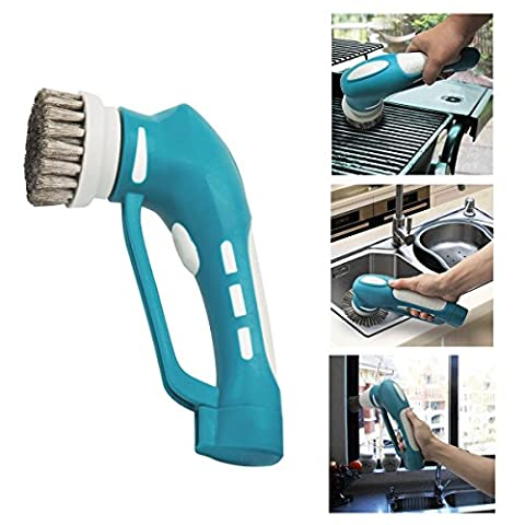 Household BBQ Barbecue Cleaning Brush Grill Brush Handheld Cordless Scrubber with Metal Brush for Bathroom and Kitchen, Blue