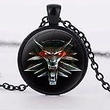 The Witcher 3 Anhänger Glas mit Halskette Wolf Amulett anthrazitfarben