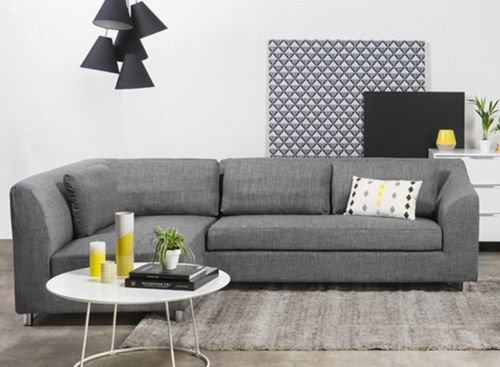 FabHomeDecor Mia FHD631 Three Seater Sectional Sofa (Grey)
