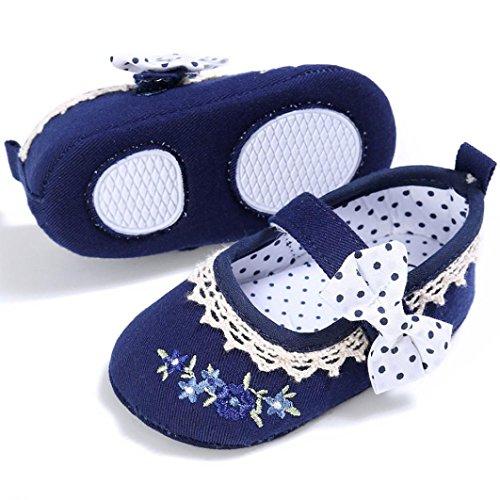 BZLine® Bébé Fille Bowknot Chaussures en Tissu, à Pois, à Motif de Fleurs, Souple (0~6 Mois, Bleu foncé) Bleu foncé