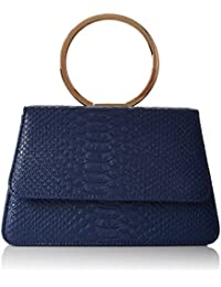 SwankySwans  Piper Snakeskin Pu Leather Clutch Bags Navy, Sac femme