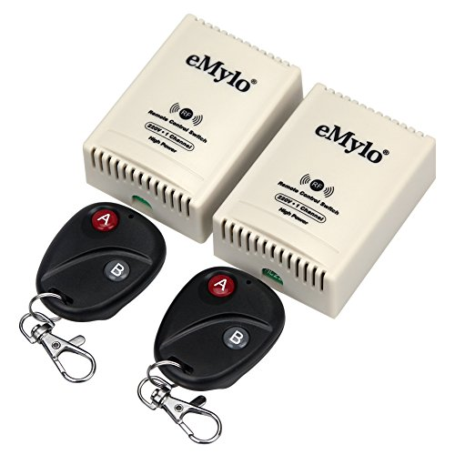 eMylo Interruptor de control remoto transmisor con receptor CA 220V-230V-240V 3000W 30A 2x 1canal 433 Mhz Smart RF inalambrico mando distancia
