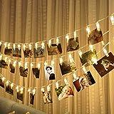 JZK 5 metri stringa lucine luci LED filo catena di mollette portafoto foto clip per foto cartoline decorative per camere matrimonio compleanno Natale battesimo bianco caldo