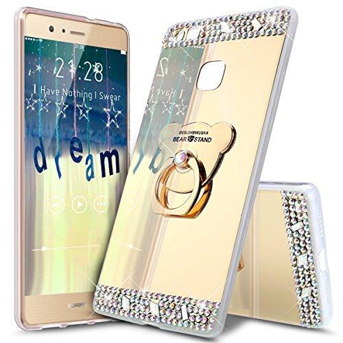 Huawei Honor 5un caso, Huawei Honor 5A protectora, ikasus Bling Rhinestone Diamond Glitter goma Plating Espejo Maquillaje caso oso con soporte función atril suave TPU Bumper Cover Caso para Huawei Honor 5A,