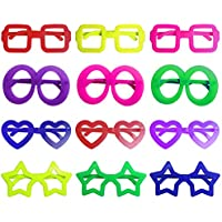 iLoveCos Children Party Bag Fillers for Kids Star Shaped Novelty Glasses Fancy Dress Glasses Colorful 6 Colors, 12 Pcs