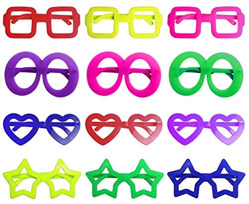 iLoveCos Mode Star Shaped Shutter Shades Brille Gläser Sonnenbrille für Kostüm Party Club Tanz Props 6 Farben, 12 Paar (gemischt)