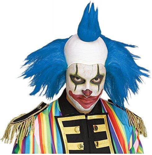 Clown Perücke mit Glatze und bunten Haaren Horror Killer verrückter evil Zirkus Freak Show, (Show Freak Kostüme)