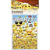 Unique 50614 Emoji - 8  Tarjetas de Invitacion con sobres, 11.4 x 21.3 cm x 0.6 cm
