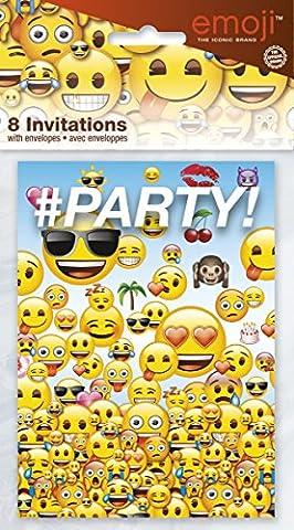 Carte D Invitation Anniversaire - Unique Party Emoji Lot de 8 cartes