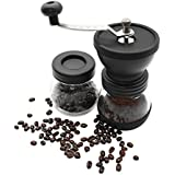 Manual Coffee Mill Grinder With Ceramic Burrs, Two Clear Glass Jars, Stainless Steel Handle And Silicon Cover - B0788JJ9TJ