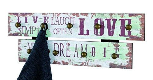 Haku Moebel 42842 Patère murale MDF/Acier Vintage 5 x 60 x 21 cm