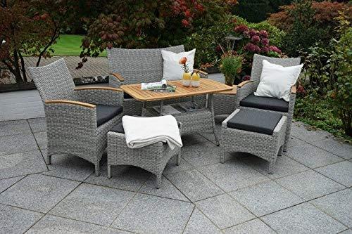 Lounge-Set, Polyrattan, Akazie (FSC(R) 100%, Aluminium, Polster, Verschiedene Elemente,
