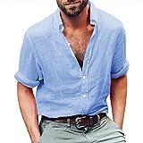 Gemijacka Leinenhemd Herren Regular Fit Button-down Sommerhemd Langarm & Kurzarm Herren Hemd Shirt Freizeithemd Herren, 1 - Blau, XXL