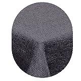 amp-artshop Tischdecke Leinen Optik Oval 135x180 cm Grau bzw. Anthrazit- Farbe , Form & Größe wählbar mit Lotus Effekt