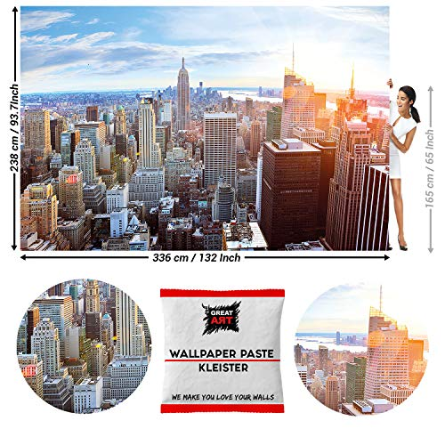 GREAT ART Fototapete Fototapete New York City Skyline 336 x 238 cm - Penthouse Panorama Manhattan Big Apple USA Amerika Wandtapete Dekoration Wandbild - 8 Teile Tapete inklusive Kleister