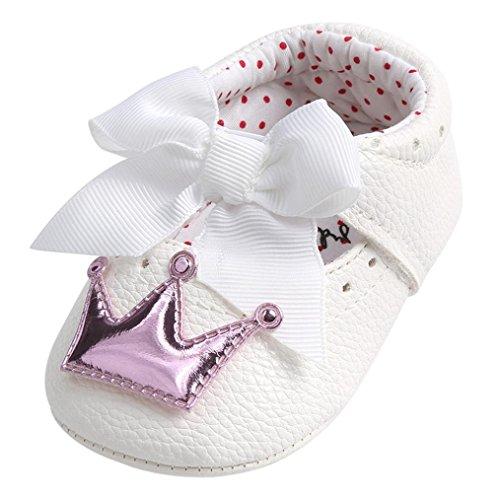 Manadlian Chaussures Bébé Chaussures Princesse Bébé Fille Couronne Souple Anti-Slip Sneakers Bebe Filles Premiers Pas pour 0-6, 6-12, 12-18 Mois (0~6 Mois, Violet)