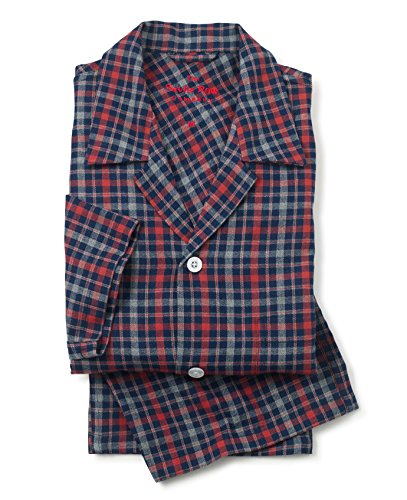 Savile Row Men's Grey Blue Red Brushed Cotton Check Pyjamas Grey Blue Red