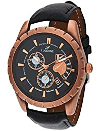 LUCERNE Analog Round Multi Designer Dial Black Leather Strap Casual Gifts Watch For Men A Modern Men Watches Gifts...