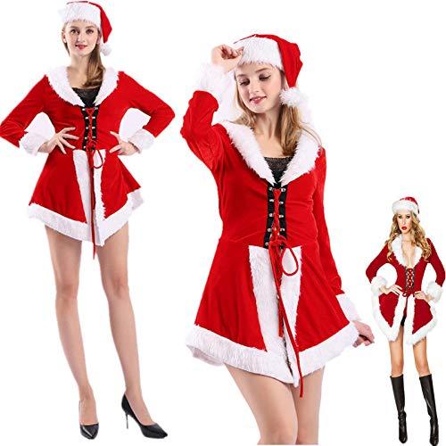 Unbekannt Weihnachten Kleid Frauen Sexy Weihnachtsmann Kostüm Weibliche Rot Samt V-Ausschnitt Abendkleid Hood Lady Weihnachten Kostüm,OneSize-Red