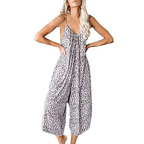 SSUPLYMY Damen Sling Jumpsuit Lässige Leopard Hohe Taille Lange Sexy Lose Bodys Polyester Lange Strampler Jumpsuit Hose mit Weitem Bein Jumpsuit Frauen Leinen Lose (Harem Girl Kostüm Aladdin)