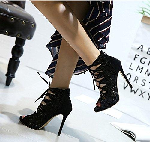 Talons 5Cm Super Chaussures 8 Creuse LÉté Sandales Avec Noires Des Bottes Thirty Bien Bouche Poisson Femelle À KHSKX Tep De eight Mesh p46Uqxqw