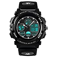 Boys Digital Analogue Watches - Kids Outdoor Sports Watch, 5 ATM Waterproof Electronic Analog Sport Wrist Watches with Alarm/Dual Time/LED Light for Teenagers Childrens - Black by VDSOW