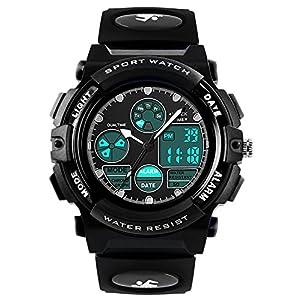 Jungen Analog Digital Uhren – Outdoor Sport Kinderuhren, 5 ATM Wasserdicht Elektronische Analog Sport Armbanduhr Uhren mit Wecker/Dual Time/LED Licht für Teenagers Kinder – Schwarz von VDSOW