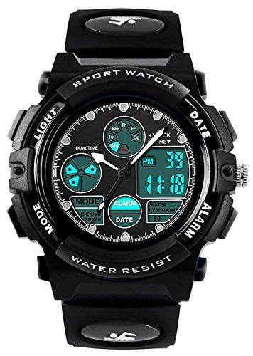 Jungen Analog Digital Uhren - Outdoor Sport Kinderuhren, 5 ATM Wasserdicht Elektronische Analog Sport Armbanduhr Uhren mit Wecker/Dual Time/LED Licht für Teenagers Kinder - Schwarz von VDSOW