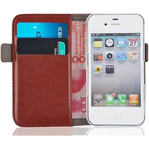[ iPhone 4 y 4S Cover ] - Funda Jammylizard De Piel Tipo Cartera Luxury Wallet Case, MARRÓN